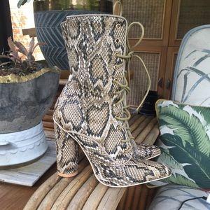 New Nasty Gal Sergio Todzi Snake Boots Lace Up